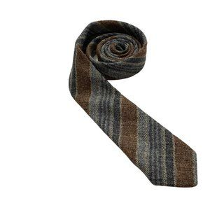 Pure Wool Burgundy & Blue Striped Narrow Tie